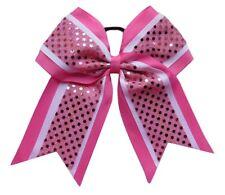 "NEW ""CONFETTI Pink White"" Cheer Bow Pony Tail 3"" Ribbon Hair Bows Cheerleading"