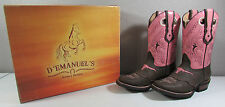 NIB Women's Ladies Dark Brown Pink Leather Stitched Longhorn Toe Boots Size 6