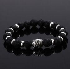 Men's fashion Buddha head beaded natural lava stone 8MMbeads agate braceletDT116