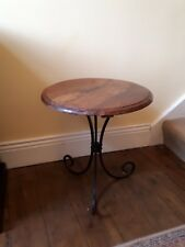 Circular side table, wood and wrought iron