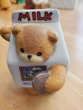 Enesco Lucy & Me Bear Figurine-Dressed as a Carton of Milk w/Cookie-1992