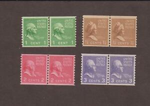 US,839,840,841,842,COIL LINE PAIR,MNH,VF,PREXIE,1938 PRESIDENTIAL SERIES MINT NH