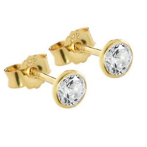 Paar 4,5mm Ohrstecker Gelbgold 375 Gold Ohrringe 9 Karat Zirkonia Weiß 2606