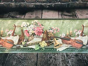 "Cambridge Studios Wallpaper Border Floral Musical Instruments 5 Yards x 10.25"""