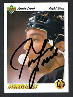 Jamie Leach #447 signed autograph auto 1991-92 Upper Deck Hockey Trading Card