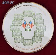 Rare FARGO NORTH DAKOTA antique 1908 calendar plate FIRST NATIONAL BANK $300,000