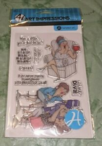 Wine Divas Aged to Perfection Clear Acrylic Stamp Set by Art Impressions SC0677