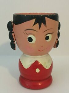 Vintage Mid Century Modern Hand Painted Anthropomorphic Wooden Egg Cup PigTails
