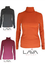 Womens Ladies Smart Casual RIb Polo High Neck Long Sleeved Top 3 colours G1007