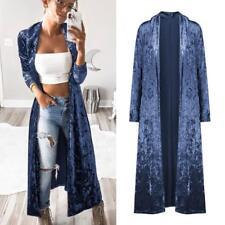 Women Long Sleeve Velvet Long Maxi Cardigan Sweaters Parka Outerwear Coat Jacket