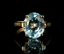 VINTAGE ESTATE NATURAL 5.0ct BLUE TOPAZ SOLID 14K YELLOW GOLD SOLITAIRE RING