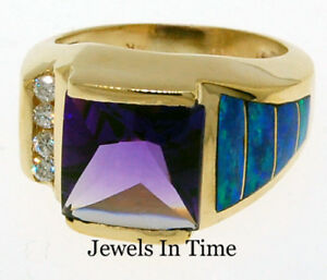 Ladies Ring 14k Gold Diamond & Amethyst 3