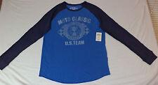 "NWT  Lucky Brand L/S Blue T-Shirt ""Moto Classic  U.S Team MCMLXIV""   XL   K#9693"