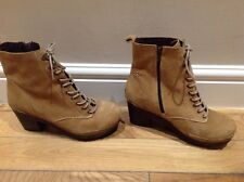 Suede RIVER ISLAND Lace Up Platform Chunk High Heel Ankle Boots 7/40