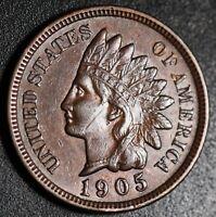 1905 INDIAN HEAD CENT -With LIBERTY & Near 4 DIAMONDS - AU UNC