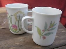 """SHAFFORD Coffee Mug Herbs & Spices White With Pastels Coup Shape 3.75"""" X 2.5 2pc"""