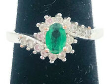 925 14kt Gold Dipped Green Topaz Cocktail Party Ring Size 6.5