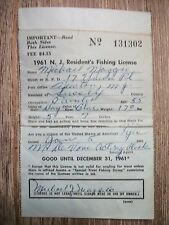 New listing 1961 N.J. Resident's Fishing License ( Trout Stamp ) Vintage