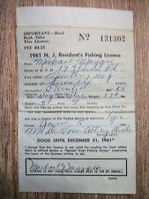 1961 N.J. Resident's Fishing License ( Trout Stamp ) Vintage