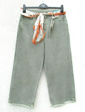 Marks & Spencer Khaki Green Denim Jeans Wide Leg Ankle Grazers & Matching Scarf