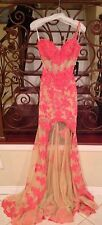 BRAND NEW SHERRI HILL 21161 CORAL NUDE LACE LONG FORMAL EVENING PAGEANT DRESS 0