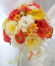 17pcs Wedding Bridal Bouquet Silk Flowers Boutonnieres Corsages ORANGE YELLOW