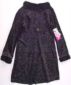 NWT Just Friends Girl's Sparkly Black Holiday Dress w/ Faux Fur Trim, XL (6X)