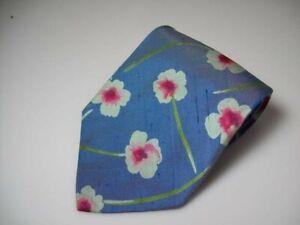 HUGO BOSS Krawatte blau Floral Reine Seide -KF89