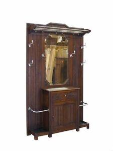 Garderobe Flurgarderobe Wandgarderobe Art Déco Eiche mit Spiegel B:120cm (10430)