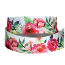 "5/10yards Grosgrain Ribbon 7/8"" Rose flower Printed"