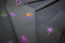 ANGEBOT-Softschell  0,50 x 150 cm  bunte Pusteblumen auf schwarz