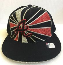 Atlanta Braves Baseball SnapBack By Leader Red Silver Glitter Size Large