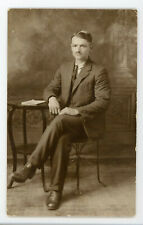 Handsome man,  small mustache vintage antique RPPC Real photo postcard