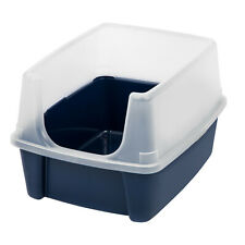 IRIS USA, Open-Top Cat Litter Box With Shield, Regular, Navy