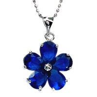 Schmuck CZ 18K White Gold Gp Blue Sapphire Pear Cut Pendant Necklace Free Chain