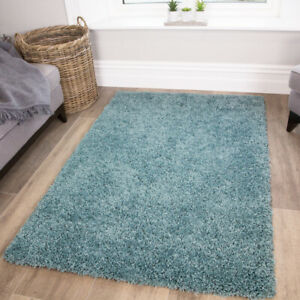 Duck Egg Shaggy Rug Soft Warm Thick Non Shed Plain Blue Living Room Shaggy Rugs