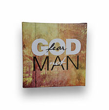 """""""Fear GOD, Not MAN"""" - Inspirational Quote Artwork Canvas Wooden Frame, 6"""" x 6"""""""