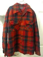 Vintage Pendleton Wool Red Plaid Board Loop Collar Shirt Mens M - READ