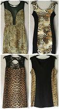 NEW LADIES BLACK & LEOPARD PRINT BODYCON SLEEVELESS SHORT DRESS PARTYWEAR *SALE*