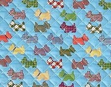 Check Dogs Cotton blend Ready quilted Fabric Puppy Pre-quilted padded JQ43<