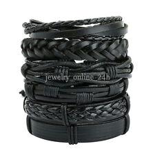 6Pcs Men Women Black Braided Leather Bracelet Bangle Wrap Rope Wristband Set