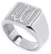 Massiv 14k Weiss Gold Herren Allah Ring
