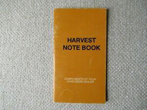 1988 John Deere combine harvest note book