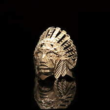 NEW Indian Chief Head Ring Solid 14K Yellow Gold Men's Band