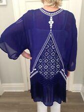 MONSOON Navy Blue & White Boho Kimono Festival Fringed Jacket Size S