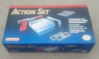 NES Action Set nintendo video game system in box w foam poster controller ps