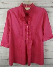 Michael Kors Pleat Ruffle Shirt Top Petite Large Pink
