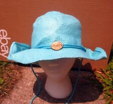 PANAMA JACK safari hat 1980s tropical dayglo blue Jungle cap w/ wooden plate