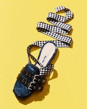 NEW MIU MIU by Prada Denim Ribbon Ankle Wrap Slide Flats Mules Shoe 36.5 6.5