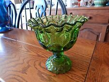 Vintage L.E. Smith Green Moon & Stars Pedestal Ruffled Compote